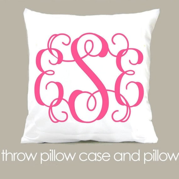 monogram throw pillow and pillowcase made to match bedroom colors custom girls pillow
