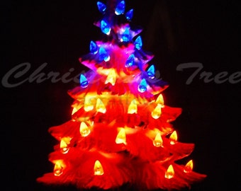 Red, White, and Blue Ceramic Christmas Tree w/ Music Box 11 in