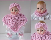 Huggums Pink Poncho Set, Baby Doll Clothes, Doll Poncho, Headband or Cowl, Crochet Doll Clothes, Fits Huggums Dolls