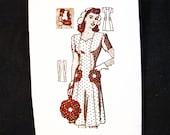 1940s Dress Pattern size 20 Bust 38 WWII Dress Mail Order Vintage Pattern Sweetheart Neck Panel Dress, Hat, Floral Handbag Sewing Pattern