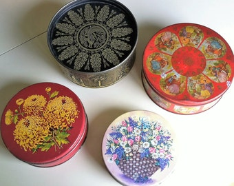 Mid Century Floral Tins Collection , Vintage Tins Storage for Sewing and Crafts , Instant Vintage Tin Collection , 4 Tins Bundle For 1 Price