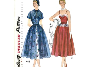 1950s Dress & Redingote with gathered full skirt - Simplicity 8252 Sewing Pattern - NEW US Sizes: 4 -6 -8 -10 -12 or 12 -14 -16 -18 -20