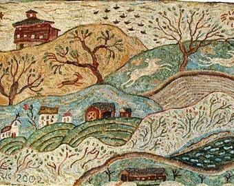 Vermont rug hooking pattern on linen//primitive landscape//Karen Kahle//barns//church//covered bridge//deer