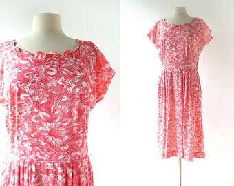 1950s Red Dress / 50s Floral Dress / Vintage 1950s Dress / Medium M