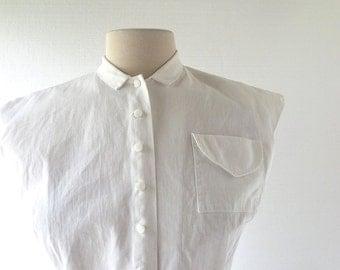 Vintage 1940s Blouse / White Cotton Blouse / Judy Bond / 40s Blouse / Small S