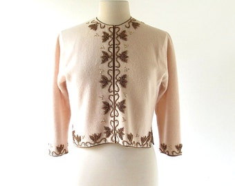 Vintage Beaded Cardigan / Bronzed Leaves / 60s Sweater / Small S