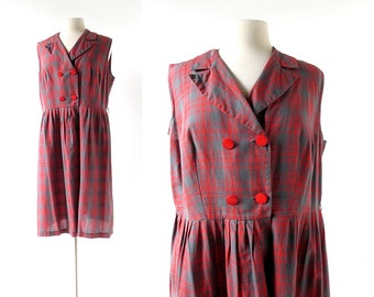 1960s Plaid Dress | To Sir | 60s Dress | XL
