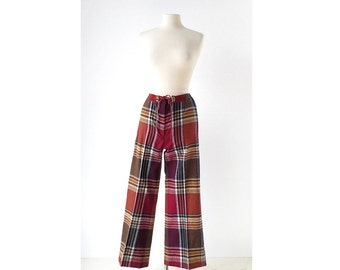 Vintage Plaid Pants / 70s Pants / Wool Pants / 28W Small