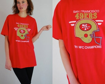 SAN FRANCISCO 49ers Vintage Red 1981 San Francisco 49ers NFC Champions Football T Shirt (one size)