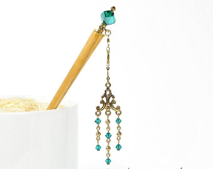 """Geisha Hair Stick Charm Hairstick 4 inch Hair Stick Japanese Hair Pin Chandelier Hair Pick - """"Dream a Little Dream"""""""