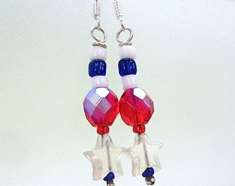 July 4th Earrings, Patriotic Red White Blue Dangle, Stars & Stripes, American Independence Day, US Holiday, Summer Jewelry USA America E123