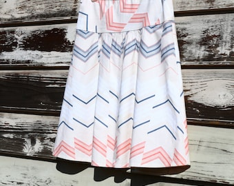 Chevron A-Line Skirt, Semi Gathered Skirt, Skirt, Custom Made to Order, All lengths, and Sizes XS to Plus