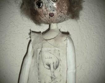 "Handmade Folk Art Primitive ""Scrap"" OOAK  Doll - ""Life"""