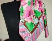 Vintage 1940s Scarf - Bold 40s Rayon Scarf with Fantastic Border Print in Brown, Pinks, Blue and Kelly Green