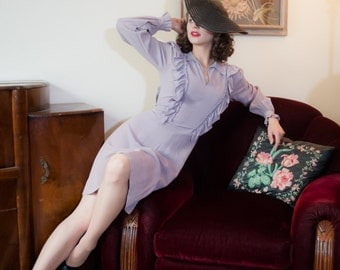 Vintage 1940s Dress - Flirty Lavender Rayon 40s Day Dress with Ruffles Galore
