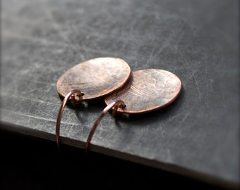 Oxidized Copper Disk Earrings - Rustic Dangle, Distressed Sanded Texture, Short Round Circle, Boho Jewellery