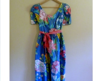 PREVIOUSLY 38.00 - Vintage 80s Bold Blue Floral Princess Dress with Ribbon Belt-Tie - Size S