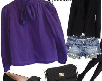 140 - Vintage 60s Purple Tie Neck Secretary Blouse - Size M