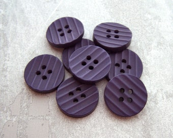Grooved Purple Buttons - CHOOSE 15mm 5/8 inch, 18mm 3/4 inch - Matte Purple Sewing Buttons - VTG Waffled Retro Mod Deep Purple Buttons PL196
