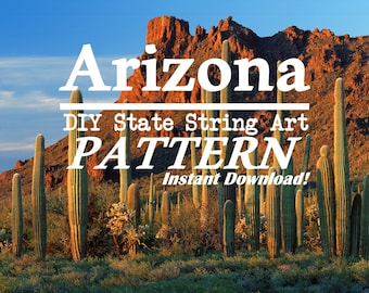 "Arizona - DIY State String Art Pattern - 8"" x 9"" - Hearts & Stars included"
