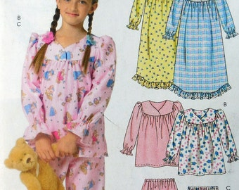 McCall's 5355 - Cute & Easy Girls' Pajamas, Nightgown, Jammies, PJs - Size 6, 7, 8 - Cute Gift Idea - Easy to Sew - Sleepwear for Kids