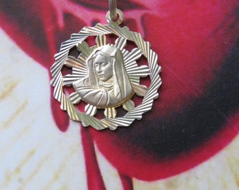 Vintage Petite 925 Italian Virgin Mary Charm- lovely for a chain or charm bracelet