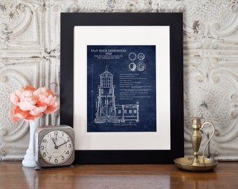 Split Rock Lighthouse Architectural Blueprint Art Print, Duluth minnesota, two harbors, lighthouse elevation, light station, nautical decor
