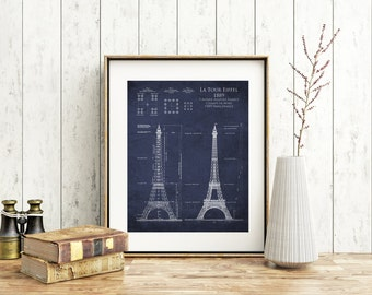 Eiffel Tower architectural blueprint, tour eiffel, french decor, paris decor, eiffel tower wall art, architect gift, wife gift, engineer