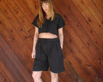 Black Cotton Embroidered Co Ord Crop Top and Shorts Set - Vintage 90s - SMALL MEDIUM S M
