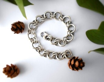 chunky chain linked bracelet, sterling silver, womens bracelet, artisan bracelet, READY TO SHIP