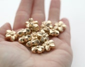 Carved Etched Gold Acrylic Flower Beads 15mm (20)