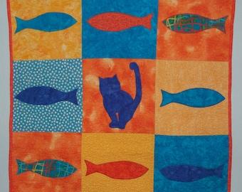 Orange and Blue Cat & Fish Baby Quilt