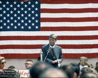 Robert F. Kennedy,  AMERICAN FLAG PORTRAIT, Astoria, Oregon, Clyde Keller Photo, Fine Art Print, Color, Signed, Treasury