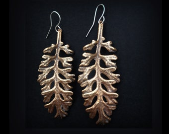 Skeletal Leaf Earrings - Bronze or Sterling Silver - Handmade in Austin, Tx - Plant Jewelry - Statement Earrings - made by Jamie Spinello