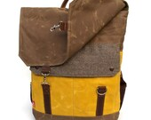 Tall Boy Waxed Canvas Backpack w/ Padded Straps / Herringbone Recycled Wool & Yellow Waxed Canvas