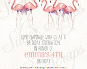 Custom Order for rvella - Watercolor Pink Flamingos and Confetti Custom Girls Birthday Party Invitation - Light & Dark pink, Turquoise, Gold