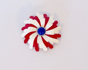 Vintage 1960s Mod / Red, White and Blue Enamel Flower Pin / Floral Brooch