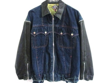 80s 90s Peace & Love LEATHER and JEAN JACKET w/ Zip-off Sleeves and Collar