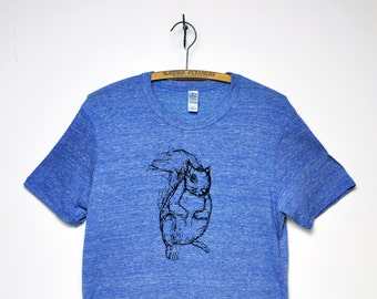 Organic Squirrel Tee Men's - Blue & Green