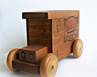 Vintage Wood Bank Toystalgia Golden Valley , Mn. , 1980 RARE W. T. Rawleigh Delivery Truck Toy Penny Bank Collectible Rolling Wheels On Sale