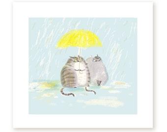 April Showers - Cat Print - Yellow Umbrella - Cat Painting- Rainy Day