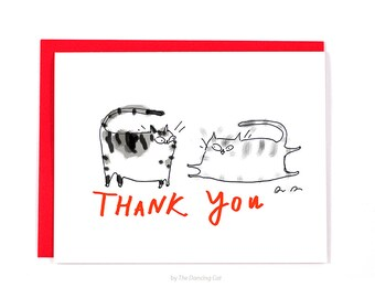 Thank You Card - Playful Cats - Cat Thank You Card