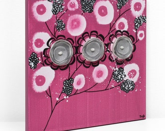3D Wall Art Pink and Black Decor Flowers on Canvas Painting in Fuchsia - Small 10x10