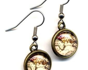 Map Earrings, Travelers Surgical Steel Earrings, Vintage World Map Earrings, Beige Gold Earrings, World Map Earrings handmade by AnnaArt72