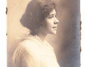 vintage Photo Portrait Profile Pretty Young Woman Lacy Dress Antique