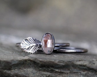 Rose Cut Diamond & Leaf Engagement Ring Set - Nature Inspired - Colored Diamond Rings - Diamond Jewellery Made in Canada