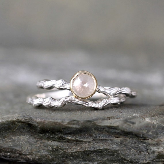 twig engagement ring with rose cut diamond sterling silver