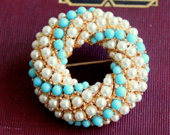 Vintage Brooch Pearl Turquoise Gold Tone Circle Brooch