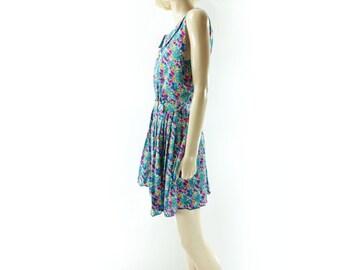sale Floral Mini Dress, Vintage Floral Dress, 80s Blue Pink Floral, 80s Vintage Dress, Full Skirt Dress, Vintage Floral Mini, m