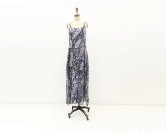 90s India Maxi Dress Vintage Boho Dress Silk Slip Dress Boho Festival Dress Blue Silk Slip Dress Floral Maxi Dress Sari Silk Dress m